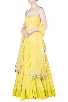 Lime Embroidered Anarakli Gown by Salian by Anushree