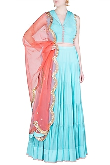 Aqua and Coral Embroidered Lehenga Set by Salian by Anushree