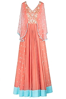 Coral Floral Embroidered Gown by Salian by Anushree