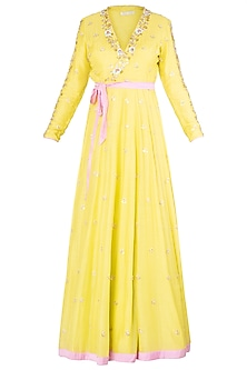 Lime Embroidered Wrap Up Anarkali Gown by Salian by Anushree