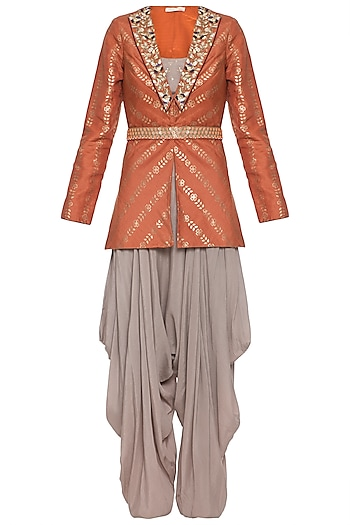 Rust embroidered foil print jacket with mud grey dhoti pants, bustier and belt by SALIAN BY ANUSHREE
