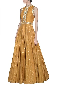 Mustard embroidered foil print jumpsuit with belt by SALIAN BY ANUSHREE
