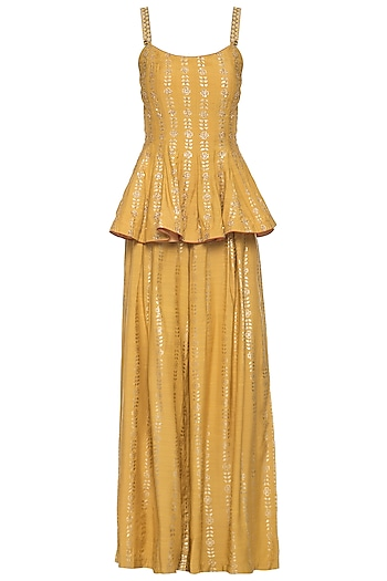 Mustard embroidered foil print peplum top with palazzo pants set by SALIAN BY ANUSHREE