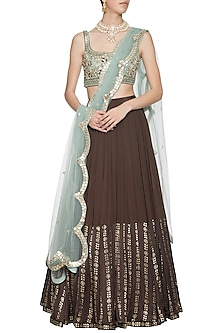 Brown and mint blue embroidered foil print lehenga set by SALIAN BY ANUSHREE