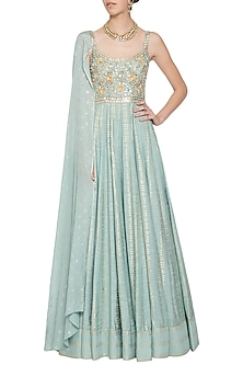Mint blue embroidered foil print anarkali gown by SALIAN BY ANUSHREE