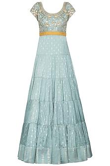 Mint blue embroidered foil print anarkali gown set by SALIAN BY ANUSHREE