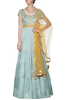 Mint blue embroidered foil print anarkali gown set by SALIAN BY ANUSHREE