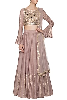 Mud grey foil print embroidered lehenga set by SALIAN BY ANUSHREE