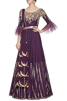 Purple embroidered foil print anarkali gown set by SALIAN BY ANUSHREE
