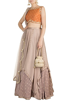Grey & Orange Foil Printed, Embroidered Lehenga Set by Salian by Anushree