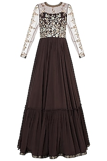 Brown embroidered foil print anarkali gown by SALIAN BY ANUSHREE