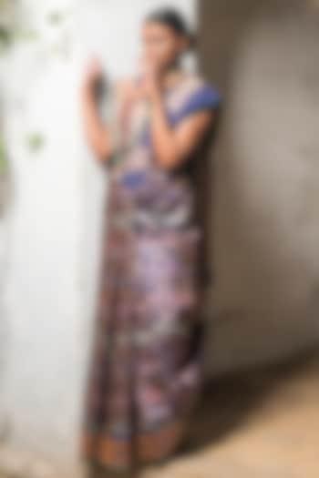 Cobalt Blue Handloom Meenakari Saree Set by Shanti Banaras