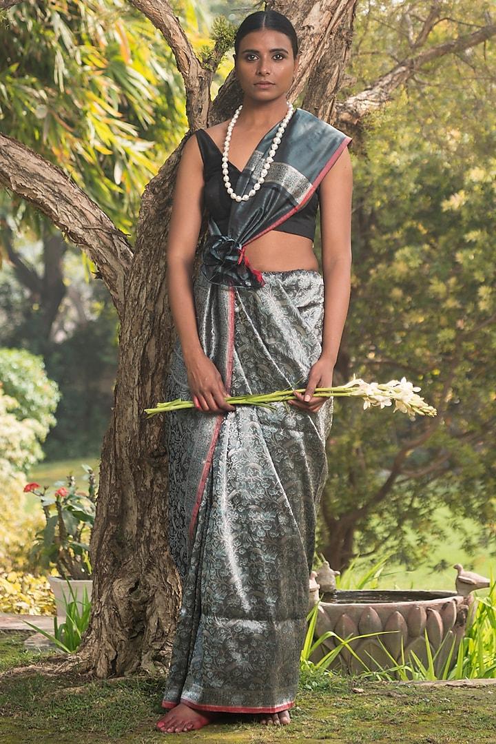 Brown Handloom Resham Saree Set by Shanti Banaras