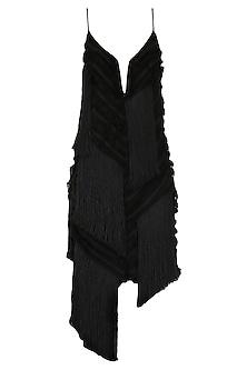 Black Fringed Dress by SHIVAN & NARRESH