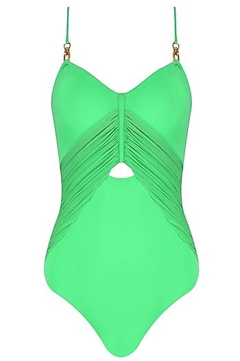 Herb Color Twin Shoulder Ruched Maillot by Shivan & Narresh