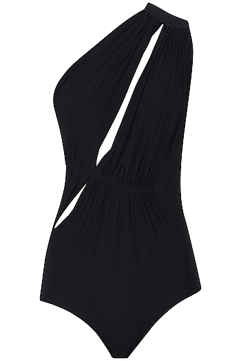 Black One Shoulder Ruched Maillot by Shivan & Narresh