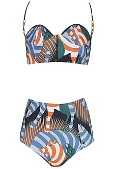 Black and Blue Twin Shoulder Brute Print Bikini Set by Shivan & Narresh
