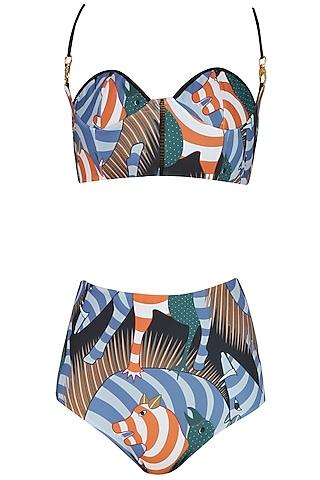 Black and Blue Twin Shoulder Brute Print Bikini Set by Shivan & Narresh