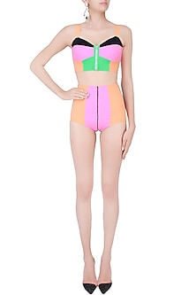 Black and Terracota Color Blocked Bikini Set by Shivan & Narresh