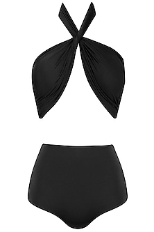 Black Halter Neck Ruched Bikini Set by Shivan & Narresh