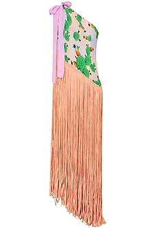 Peach Cacti Print One Shoulder Fringed Pareo Dress by Shivan & Narresh