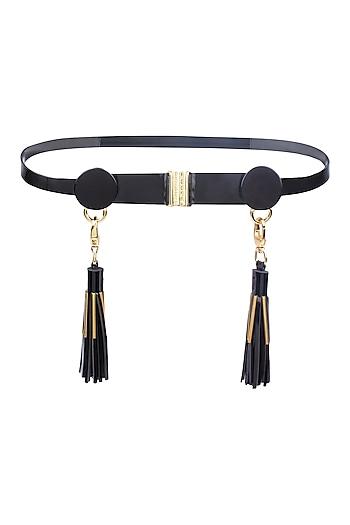 Black Leather Tassels and Metallic Trims Belt by Shivan & Narresh