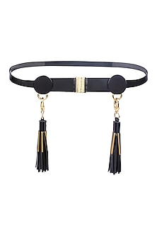 Black Leather Tassels and Metallic Trims Belt by Shivan & Narresh