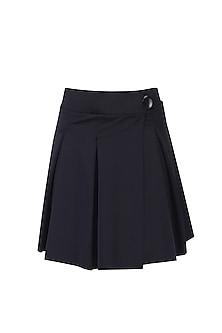 Black Pleated Wrap Skirt by Shivan & Narresh