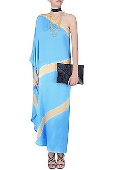 Turquoise Blue Ombre Dyed Lines One Shoulder Kaftan by Shivan & Narresh