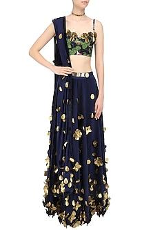 Blue Sapphire Bloom Skein Work Lehenga Set by Shivan & Narresh