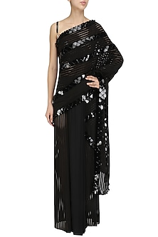 Black Onyx Skein Work Linear Lace Saree with Lace Malliot by Shivan & Narresh