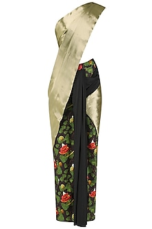Black and Gold Acrot Print Saree with Acrot Print Blouse by Shivan & Narresh
