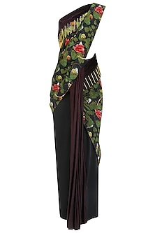 Acrot Print Needle Work Saree with Beetle Skein Work Blouse by Shivan & Narresh