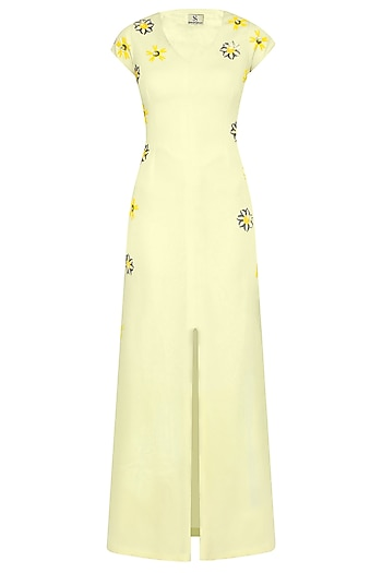 Classic Lemon Floral Motifs Sardinia Maxi Gown by Shainah Dinani