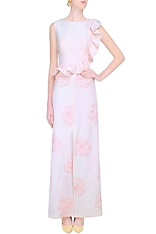 Blush Pink Sequins Floral Work Ruffled Maxi Gown by Shainah Dinani