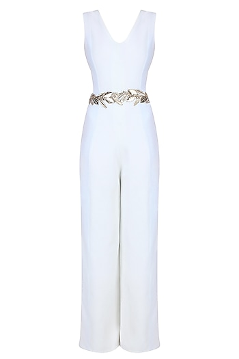 Separmint and Pastel Blue Leaves Embroidered Jumpsuit by Shainah Dinani