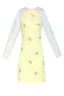 Lemon Yellow Embroidered Bird Motifs Shift Dress by Shainah Dinani
