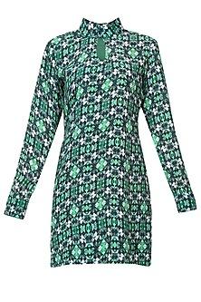 Forest green wallpaper midi dress by Shainah Dinani
