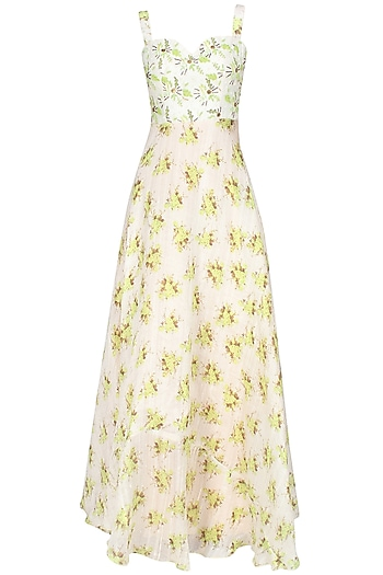 Beige floral corset embellished gown by Shainah Dinani