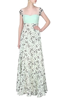 Mint green embellished pleated sleeves gown by Shainah Dinani