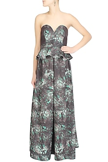 Grey brown peplum ankle length dress by Shainah Dinani