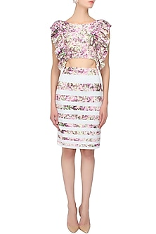 Lavender pink and green auntum leaves printed crop top and skirt set by Shainah Dinani