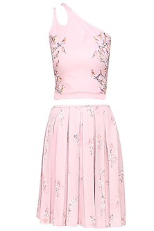 Light lavender pink bird print cutout crop top and floral skirt set by Shainah Dinani