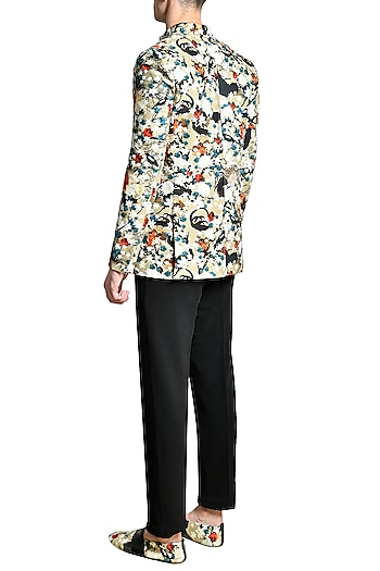 Multi Colored Fused Jersey Jacket by Shivan & Narresh Men