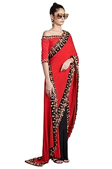 Red & Black Metallic Skein Pre-Stitched Saree by Shivan & Narresh