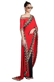 Red & Black Metallic Skein Pre-Stitched Saree by Shivan & Narresh