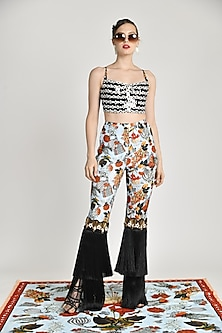 Multi Colored Printed Skein Fringed Trouser Pants by Shivan & Narresh