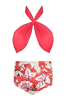 Red eden halter bikini set by Shivan & Narresh