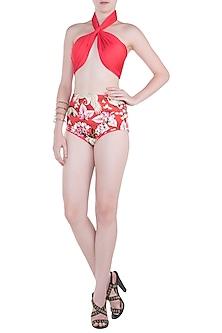 Red eden halter bikini set by Shivan & Narresh