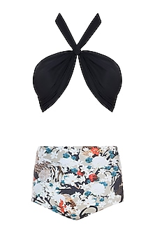 Black praslin halter bikini set by Shivan & Narresh